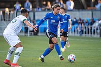 SAN JOSE, CA - MAY 15: Cade Cowell #44 of the San Jose Earthquakes passes the ball during a game between San Jose Earthquakes and Portland Timbers at PayPal Park on May 15, 2021 in San Jose, California.