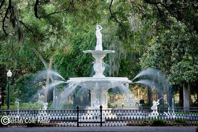 The Forsyth fountain in Forsyth Park - in Savannah, GA, USA