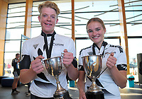 National under-19 champions Burnie McGrath and Amy Wollaston, of Te Awamutu Cycling. 2018 NZ Age Group Road Cycling Championships in Carterton, New Zealand on Sunday, 22 April 2018. Photo: Dave Lintott / lintottphoto.co.nz