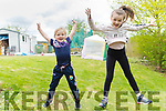 "Eloisha and Tiarna Falvay at home in Milltown, doing their TicTock jump for the ""Stars in the Livingroom"" fundraiser for Milltown/Castlemaine GAA Club."
