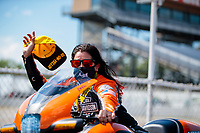 Aug 9, 2020; Clermont, Indiana, USA; NHRA pro stock motorcycle rider Angelle Sampey celebrates after winning the Indy Nationals at Lucas Oil Raceway. Mandatory Credit: Mark J. Rebilas-USA TODAY Sports