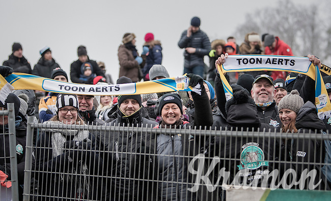 Race winner Toon Aerts (BEL/Telenet-Fidea) is celebrated by his fans in front of the podium<br /> <br /> men's elite race<br /> GP Sven Nys 2017