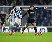 Brighton & Hove Albion's Shane Duffy (left) battles with Burnley's Jeff Hendrick (right) <br /> <br /> Photographer David Horton/CameraSport<br /> <br /> The Premier League - Brighton and Hove Albion v Burnley - Saturday 9th February 2019 - The Amex Stadium - Brighton<br /> <br /> World Copyright © 2019 CameraSport. All rights reserved. 43 Linden Ave. Countesthorpe. Leicester. England. LE8 5PG - Tel: +44 (0) 116 277 4147 - admin@camerasport.com - www.camerasport.com
