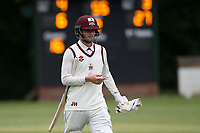 J Hebron of Brentwood leaves the field having been dismissed during Wanstead and Snaresbrook CC (fielding) vs Brentwood CC, Hamro Foundation Essex League Cricket at Overton Drive on 19th June 2021