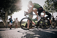 walking/riding post-race interview on the way to the teambus for Taylor Phinney (USA/Cannondale-Drapac)<br /> <br /> 104th Tour de France 2017<br /> Stage 19 - Embrun › Salon-de-Provence (220km)
