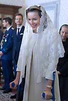 Queen Mathilde of Belgium<br /> The privilege of the white is a special privilege granted to Catholic queens, or the wives of the Catholic kings, which, during the audience with the Pope, can wear a white dress instead of the usual black dress prescribed by ceremonial.<br /> <br /> White is currently the privilege granted only to the queen Letizia of Spain, Queen Mathilde of Belgium, Princess Charlene of Monaco, former Queen Sofia of Spain, former Queen Paola of Belgium and the Grand Duchess Maria Teresa of Luxembourg.<br /> <br /> Until 1946 the privilege was also granted to the Italian queen and princesses of the House of Savoy. Although Catholics, the privilege is not granted to the Principality of Liechtenstein and the Kingdom of Lesotho, and, until 2013, was not granted to the Principality of Monaco. The wives of the presidents do not enjoy the privilege of white.<br /> Pope Francis meets  King Philippe - Filip of Belgium and Queen Mathilde of Belgium during a visit  at the Vatican , Monday 09 March 2015,