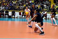 BOGOTÁ-COLOMBIA, 08-01-2020: Karyanlys Segura de Venezuela, recibe el balón, durante partido entre Argentina y Venezuela, en el Preolímpico Suramericano de Voleibol, clasificatorio a los Juegos Olímpicos Tokio 2020, jugado en el Coliseo del Salitre en la ciudad de Bogotá del 7 al 9 de enero de 2020. / Karyanlys Segura  from Venezuela receives the ball, during, during a match between Venezuela and Argentina, in the South American Volleyball Pre-Olympic Championship, qualifier for the Tokyo 2020 Olympic Games, played in the Colosseum El Salitre in Bogota city, from January 7 to 9, 2020. Photo: VizzorImage / Luis Ramírez / Staff.