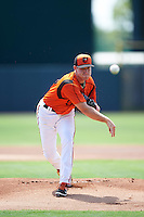 GCL Orioles starting pitcher Lucas Brown (48) during a game against the GCL Red Sox on August 16, 2016 at the Ed Smith Stadium in Sarasota, Florida.  GCL Red Sox defeated GCL Orioles 2-0.  (Mike Janes/Four Seam Images)