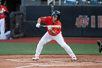 Dylan Harris (9) of the Aberdeen IronBirds squares to bunt against the Hudson Valley Renegades at Leidos Field at Ripken Stadium on July 23, 2021, in Aberdeen, MD. (Brian Westerholt/Four Seam Images)