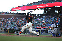 SAN FRANCISCO, CA - JULY 29:  Buster Posey #28 of the San Francisco Giants hits a home run against the Los Angeles Dodgers during the game at Oracle Park on Saturday, May 22, 2021 in San Francisco, California. (Photo by Brad Mangin)