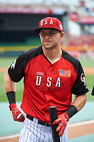 Team USA Trevor Story (4) during practice before the MLB All-Star Futures Game on July 12, 2015 at Great American Ball Park in Cincinnati, Ohio.  (Mike Janes/Four Seam Images)