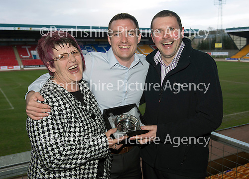 St Johnstone Player of the Year Awards...04.05.13.David Robertson won the Highland Saints Supporters Club Magic Moment Award, presented by Rhoda MacKay and Iain Eisner..Picture by Graeme Hart..Copyright Perthshire Picture Agency.Tel: 01738 623350  Mobile: 07990 594431