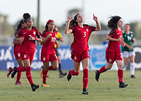 Bradenton, FL - Sunday, June 12, 2018: Kate Wiesner, goal celebration during a U-17 Women's Championship Finals match between USA and Mexico at IMG Academy.  USA defeated Mexico 3-2 to win the championship.