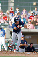 Potomac Nationals infielder Bryan Mejia (2) at bat during a game against the Myrtle Beach Pelicans at Ticketreturn.com Field at Pelicans Ballpark on July 1, 2018 in Myrtle Beach, South Carolina. Myrtle Beach defeated Potomac 6-1. (Robert Gurganus/Four Seam Images)