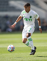LOS ANGELES, CA - APRIL 17: Rodney Redes #11 of Austin FC  moves with the ball during a game between Austin FC and Los Angeles FC at Banc of California Stadium on April 17, 2021 in Los Angeles, California.