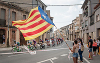peloton passing under the Catalan flag<br /> <br /> Stage 8: Valls to Igualada (167km)<br /> La Vuelta 2019<br /> <br /> ©kramon
