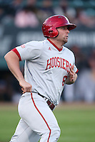 Sam Travis #6 of the Indiana Hoosiers runs to first base during a game against the Long Beach State Dirtbags at Blair Field on March 14, 2014 in Long Beach, California. Long Beach State defeated Indiana 4-3. (Larry Goren/Four Seam Images)