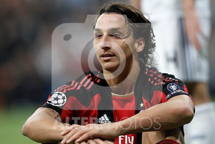 Milan's Zlatan Ibrahimovic during champions league match ..Photo: Cesar Cebolla  / ALFAQUI