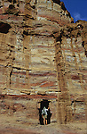 Extraordinary range of colours of the sandstone where tombs are digged. Middle East. Jordan. Petra