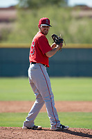 Los Angeles Angels relief pitcher Jon Malmin (46) during a Minor League Spring Training game against the Chicago Cubs at Sloan Park on March 20, 2018 in Mesa, Arizona. (Zachary Lucy/Four Seam Images)