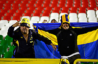 TUNJA  - COLOMBIA - 30 - 05 - 2017: Hinchas de Everton, animan a su equipo durante partido de vuelta entre Patriotas F. C. de Colombia y Everton of Chile, de la primera fase, llave 5 por la Copa Conmebol Sudamericana en el estadio La Independencia de la ciudad de Tunja. / Fans of Everton, cheer for their team during a match of the second leg of the first phase key 5 of between Patriotas F. C. of Colombia and Everton of Chile, for the Conmebol Sudamericana Cup 2017 at the La Libertad stadium in the city of Tunja. Photo: VizzorImage / Javier Morales / Cont.