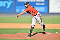 Aberdeen IronBirds starting pitcher Ryan Wilson (17) delivers a pitch during a game against the Asheville Tourists on June 16, 2021 at McCormick Field in Asheville, NC. (Tony Farlow/Four Seam Images)