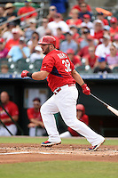 St. Louis Cardinals first baseman Matt Adams (32) during a Spring Training game against the New York Mets on April 2, 2015 at Roger Dean Stadium in Jupiter, Florida.  The game ended in a 0-0 tie.  (Mike Janes/Four Seam Images)