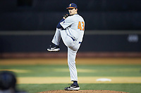 Illinois Fighting Illini relief pitcher Sean Leland (43) in action against the Wake Forest Demon Deacons at David F. Couch Ballpark on February 16, 2019 in  Winston-Salem, North Carolina.  The Fighting Illini defeated the Demon Deacons 5-2. (Brian Westerholt/Four Seam Images)