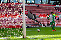 5th April 2021; Bet365 Stadium, Stoke, Staffordshire, England; English Football League Championship Football, Stoke City versus Millwall; Mason Bennett of Millwall shoots the ball into an open net to score a goal putting Millwall ahead 2-1 in minute 75