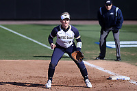 DURHAM, NC - FEBRUARY 29: Sarah Genz #2 of the University of Notre Dame waits at first base during a game between Notre Dame and Duke at Duke Softball Stadium on February 29, 2020 in Durham, North Carolina.