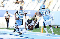 CHAPEL HILL, NC - NOVEMBER 14: Jaquarii Roberson #5 of Wake Forest scores a late touchdown during a game between Wake Forest and North Carolina at Kenan Memorial Stadium on November 14, 2020 in Chapel Hill, North Carolina.