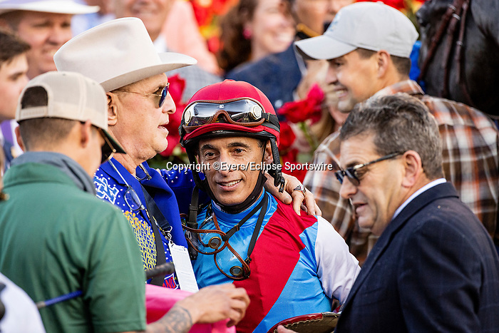 MAY 01, 2021:  Jeff Ruby hugs John Velazquez in the winner circle after the Kentucky Derby at Churchill Downs in Louisville, Kentucky on May 1, 2021. EversEclipse Sportswire/CSM