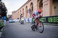 Daniel Navarro (ESP/Katusha - Alpecin) up the (very steep) San Luca climb<br /> <br /> Stage 1 (ITT): Bologna to Bologna/San Luca (8.2km)<br /> 102nd Giro d'Italia 2019<br /> <br /> ©kramon