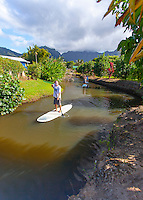 Caucasian male and others standup paddleboarding on the Hanalei River, Kaua'i