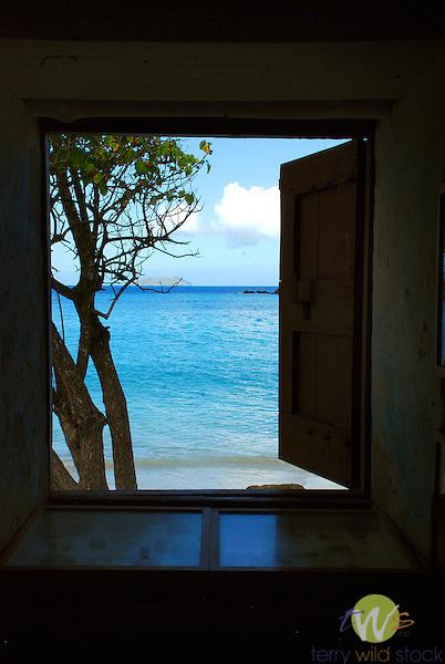 Cinnamon Bay Beach, St. John USVI . View from museum window.
