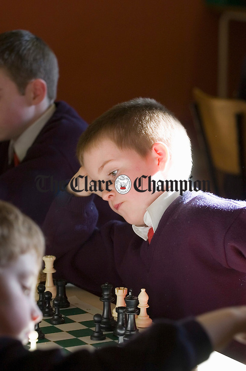 Shane Mc Namara of Cree NS deep in thought while competing at the West Clare Chess Schools tournament in Knockerra Hall. Photograph by John Kelly.