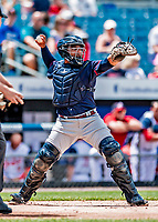 22 July 2018: Louisville Bats catcher Chadwick Tromp in action against the Syracuse SkyChiefs at NBT Bank Stadium in Syracuse, NY. The Bats defeated the Chiefs 3-1 in AAA International League play. Mandatory Credit: Ed Wolfstein Photo *** RAW (NEF) Image File Available ***