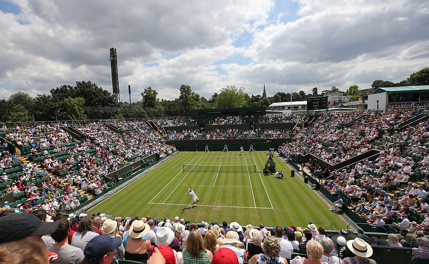 A general view of Court 2<br /> <br /> Photographer Rob Newell/CameraSport<br /> <br /> Wimbledon Lawn Tennis Championships - Day 2 - Tuesday 2nd July 2019 -  All England Lawn Tennis and Croquet Club - Wimbledon - London - England<br /> <br /> World Copyright © 2019 CameraSport. All rights reserved. 43 Linden Ave. Countesthorpe. Leicester. England. LE8 5PG - Tel: +44 (0) 116 277 4147 - admin@camerasport.com - www.camerasport.com