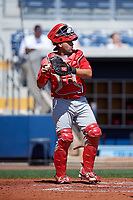 Palm Beach Cardinals catcher Jose Godoy (27) throws back to the pitcher during a game against the Charlotte Stone Crabs on April 12, 2017 at Charlotte Sports Park in Port Charlotte, Florida.  Palm Beach defeated Charlotte 8-7 in ten innings.  (Mike Janes/Four Seam Images)