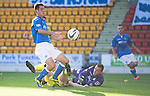 St Johnstone v St Mirren....04.10.14   SPFL<br /> Brian Graham is blocked in the six yard box<br /> Picture by Graeme Hart.<br /> Copyright Perthshire Picture Agency<br /> Tel: 01738 623350  Mobile: 07990 594431