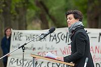 Feielichkeit zum 69. Jahrestag der Befreiung des Frauenkonzentrationslager Ravensbrueck.<br />Am Sonntag den 4. Mai 2014 fand die im ehemaligen Frauenkonzentrationslager Ravensbrueck die Feierlichkeiten zum 69. Jahrestag der Befreiung statt.<br />In Ravensbrueck war von 1938 bis 1945 ein Konzentrationlager fuer Frauen in der brandenburgischen Kleinstadt Fuerstenberg. Im Mai 1945 wurde es von russischen Soldaten befreit.<br />Zu den Feierlichkeiten kamen ueberlebende Frauen aus ganz Europa, die meissten von ihnen aus Polen.<br />Im Bild: Die Journalistin und Publizistin Carolin Emke spricht zu den Anwesenden.<br />4.5.2014, Ravensbrueck/Fuerstenberg<br />Copyright: Christian-Ditsch.de<br />[Inhaltsveraendernde Manipulation des Fotos nur nach ausdruecklicher Genehmigung des Fotografen. Vereinbarungen ueber Abtretung von Persoenlichkeitsrechten/Model Release der abgebildeten Person/Personen liegen nicht vor. NO MODEL RELEASE! Don't publish without copyright Christian-Ditsch.de, Veroeffentlichung nur mit Fotografennennung, sowie gegen Honorar, MwSt. und Beleg. Konto: I N G - D i B a, IBAN DE58500105175400192269, BIC INGDDEFFXXX, Kontakt: post@christian-ditsch.de]