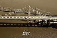 aerial photograph San Francisco Oakland Bay Bridge old and new eastern span