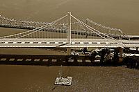 aerial photograph San Francisco Oakland Bay Bridge old and new eastern span