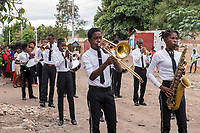 Haiti, Gros-Morne. Mercy Beyond Borders ten year anniversary party. Band playing in the street.