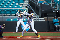 Terence Norman (6) of the Kennesaw State Owls at bat against the Western Carolina Catamounts at Springs Brooks Stadium on February 22, 2020 in Conway, South Carolina. The Owls defeated the Catamounts 12-0.  (Brian Westerholt/Four Seam Images)