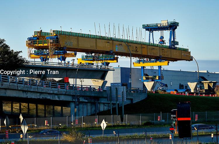 La construction du REM, 2019<br /> <br /> Photo : Pierre Tran - AQP