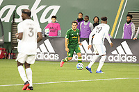 PORTLAND, OR - MARCH 01: Sebastian Blanco #10 of the Portland Timbers looks to cross the ball during a game between Minnesota United FC and Portland Timbers at Providence Park on March 01, 2020 in Portland, Oregon.