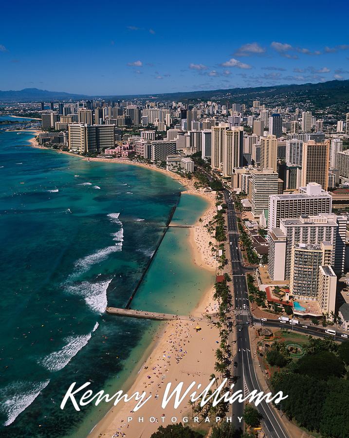 Waikiki Beach, Aerial View, Honolulu, Oahu, Hawaii, USA.