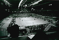 Rotterdam, The Netherlands, 15 March 1981, ABN WCT World Tennis Tournament, Ahoy,  Overall vieuw of centercourt  during the match between  Eric Wilborts (NED) on the far end and Jimmy Connors (USA)<br /> Photo: www.tennisimages.com/Henk Koster