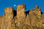 Moon over rock formation, Abra Granada, Andes, northwestern Argentina
